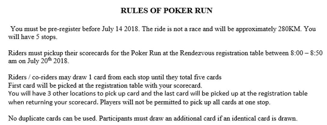 Rules of Poker Run