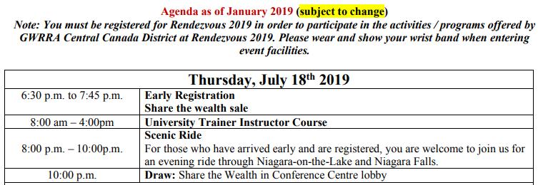 Rendezvous schedule